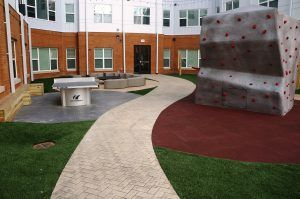 Bomanite Imprint Systems by Stephens And Smith at 8N Lofts on the Student Apartments Courtyards in Lincoln Nebraska